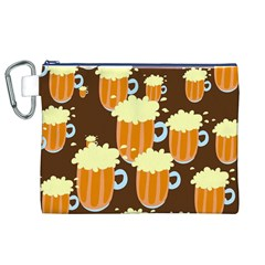 A Fun Cartoon Frothy Beer Tiling Pattern Canvas Cosmetic Bag (xl)