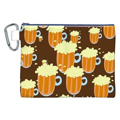 A Fun Cartoon Frothy Beer Tiling Pattern Canvas Cosmetic Bag (XXL)