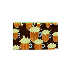 A Fun Cartoon Frothy Beer Tiling Pattern Cosmetic Bag (XS)