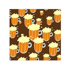 A Fun Cartoon Frothy Beer Tiling Pattern Small Satin Scarf (Square)