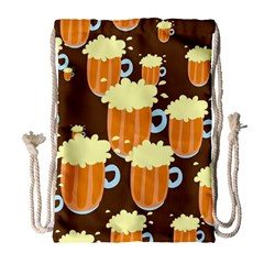 A Fun Cartoon Frothy Beer Tiling Pattern Drawstring Bag (large)