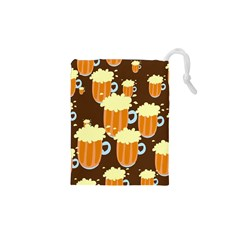 A Fun Cartoon Frothy Beer Tiling Pattern Drawstring Pouches (XS)