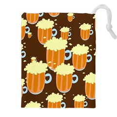 A Fun Cartoon Frothy Beer Tiling Pattern Drawstring Pouches (XXL)