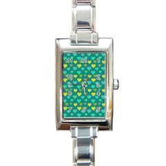 Hearts Seamless Pattern Background Rectangle Italian Charm Watch