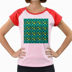 Hearts Seamless Pattern Background Women s Cap Sleeve T Shirt
