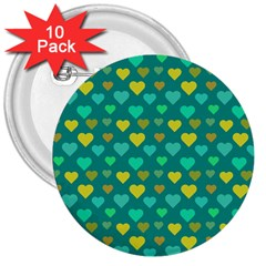 Hearts Seamless Pattern Background 3  Buttons (10 pack)