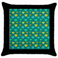 Hearts Seamless Pattern Background Throw Pillow Case (black)
