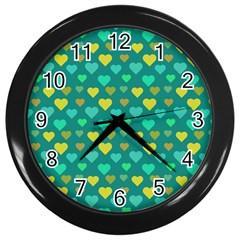 Hearts Seamless Pattern Background Wall Clocks (black)
