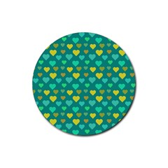 Hearts Seamless Pattern Background Rubber Round Coaster (4 Pack)