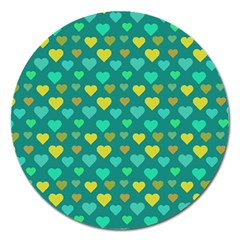 Hearts Seamless Pattern Background Magnet 5  (round)
