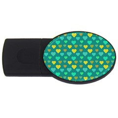 Hearts Seamless Pattern Background USB Flash Drive Oval (2 GB)