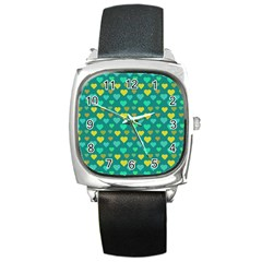 Hearts Seamless Pattern Background Square Metal Watch