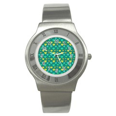 Hearts Seamless Pattern Background Stainless Steel Watch