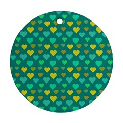Hearts Seamless Pattern Background Round Ornament (Two Sides)