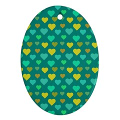 Hearts Seamless Pattern Background Oval Ornament (Two Sides)