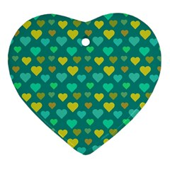 Hearts Seamless Pattern Background Heart Ornament (two Sides)