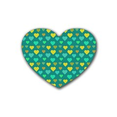 Hearts Seamless Pattern Background Rubber Coaster (Heart)