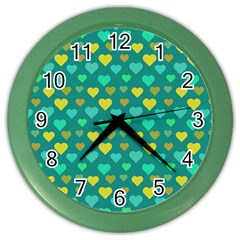 Hearts Seamless Pattern Background Color Wall Clocks