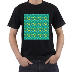 Hearts Seamless Pattern Background Men s T Shirt (black)