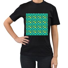 Hearts Seamless Pattern Background Women s T-Shirt (Black)