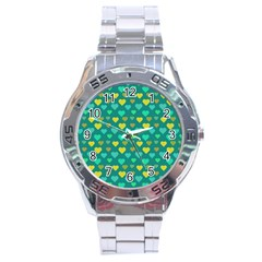 Hearts Seamless Pattern Background Stainless Steel Analogue Watch
