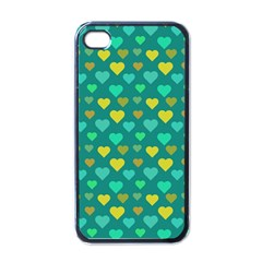 Hearts Seamless Pattern Background Apple iPhone 4 Case (Black)