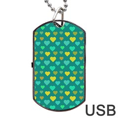 Hearts Seamless Pattern Background Dog Tag USB Flash (Two Sides)