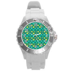 Hearts Seamless Pattern Background Round Plastic Sport Watch (L)