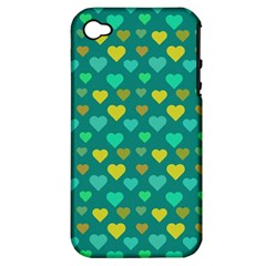 Hearts Seamless Pattern Background Apple iPhone 4/4S Hardshell Case (PC+Silicone)