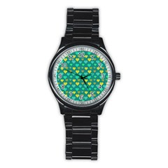 Hearts Seamless Pattern Background Stainless Steel Round Watch