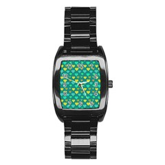 Hearts Seamless Pattern Background Stainless Steel Barrel Watch