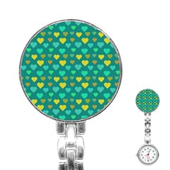 Hearts Seamless Pattern Background Stainless Steel Nurses Watch
