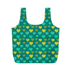 Hearts Seamless Pattern Background Full Print Recycle Bags (M)