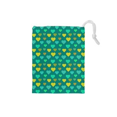 Hearts Seamless Pattern Background Drawstring Pouches (Small)