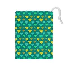 Hearts Seamless Pattern Background Drawstring Pouches (Large)