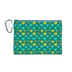 Hearts Seamless Pattern Background Canvas Cosmetic Bag (m)