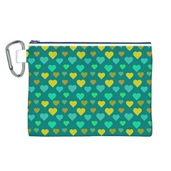 Hearts Seamless Pattern Background Canvas Cosmetic Bag (L)