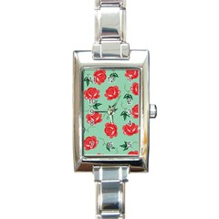Red Floral Roses Pattern Wallpaper Background Seamless Illustration Rectangle Italian Charm Watch