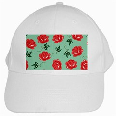 Red Floral Roses Pattern Wallpaper Background Seamless Illustration White Cap