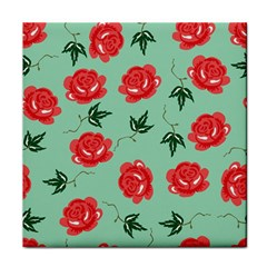 Red Floral Roses Pattern Wallpaper Background Seamless Illustration Tile Coasters