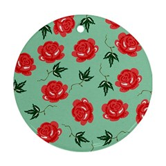 Red Floral Roses Pattern Wallpaper Background Seamless Illustration Ornament (round)
