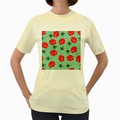 Red Floral Roses Pattern Wallpaper Background Seamless Illustration Women s Yellow T Shirt