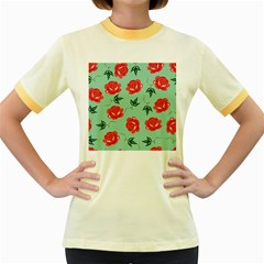 Red Floral Roses Pattern Wallpaper Background Seamless Illustration Women s Fitted Ringer T-Shirts