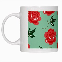 Red Floral Roses Pattern Wallpaper Background Seamless Illustration White Mugs