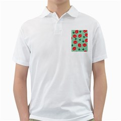 Red Floral Roses Pattern Wallpaper Background Seamless Illustration Golf Shirts