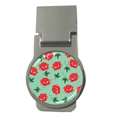 Red Floral Roses Pattern Wallpaper Background Seamless Illustration Money Clips (Round)