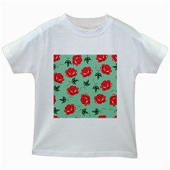 Red Floral Roses Pattern Wallpaper Background Seamless Illustration Kids White T Shirts