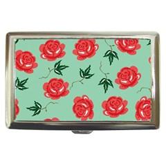 Red Floral Roses Pattern Wallpaper Background Seamless Illustration Cigarette Money Cases