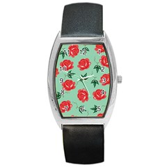 Red Floral Roses Pattern Wallpaper Background Seamless Illustration Barrel Style Metal Watch