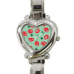 Red Floral Roses Pattern Wallpaper Background Seamless Illustration Heart Italian Charm Watch